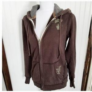 AEO XS distressed charcoal full zip hoodie sweatsh